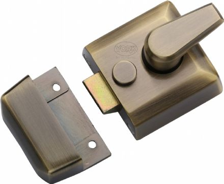 M Marcus York Security NL3040-AT Cylinder Rim Nightlatch 40mm  Antique Brass
